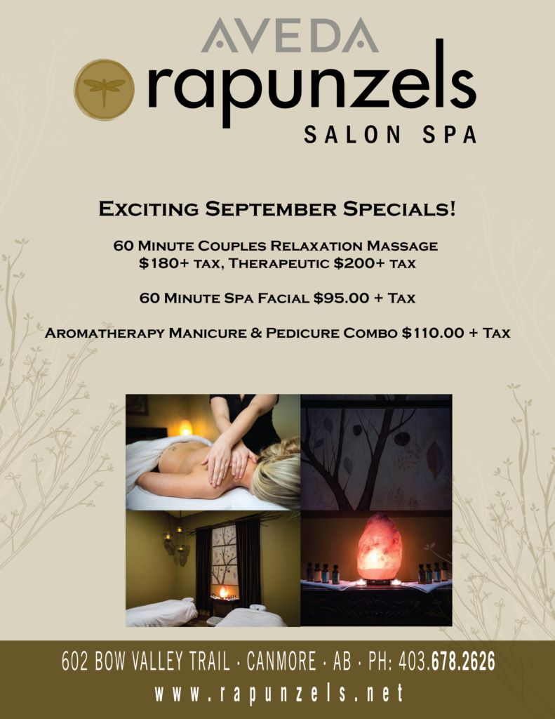 Rapunzels Sept. Specials at our Canmore Spa