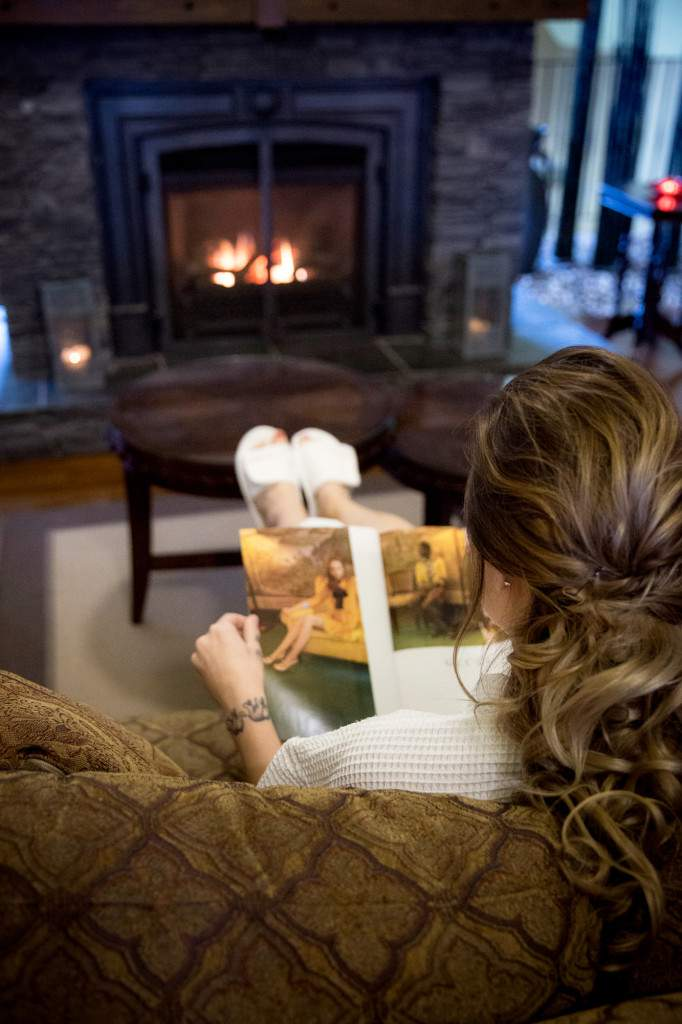 Cozy Fireplace in our lounge - Relaxing Spa Experience - Rapunzel Salon & Spa - Canmore