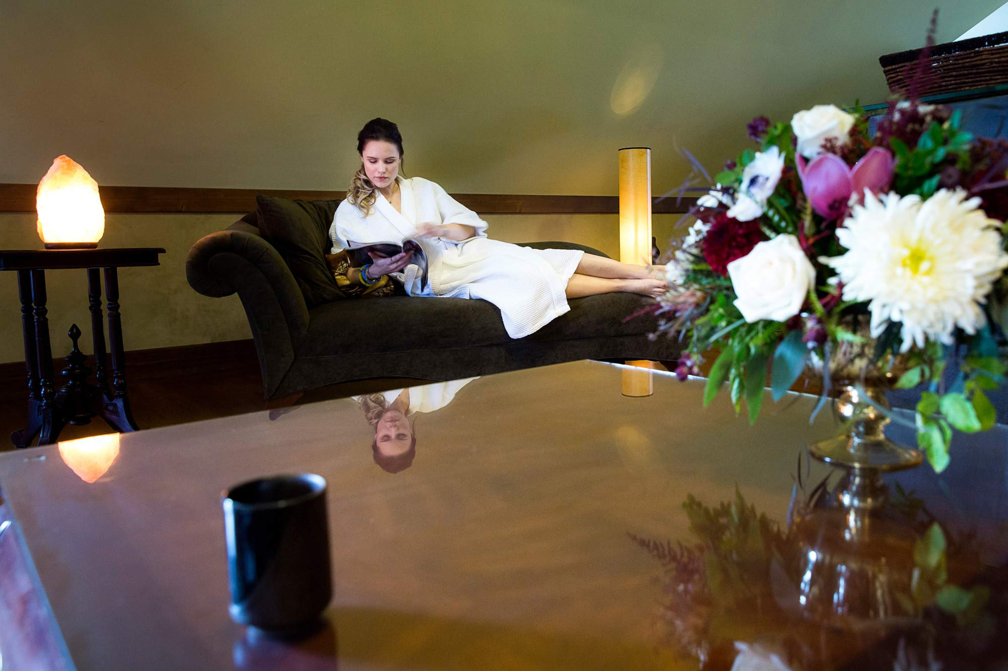 Relax with specially blended Aveda tea - Relaxing Spa Atmosphere - Rapunzel Salon & Spa - Canmore